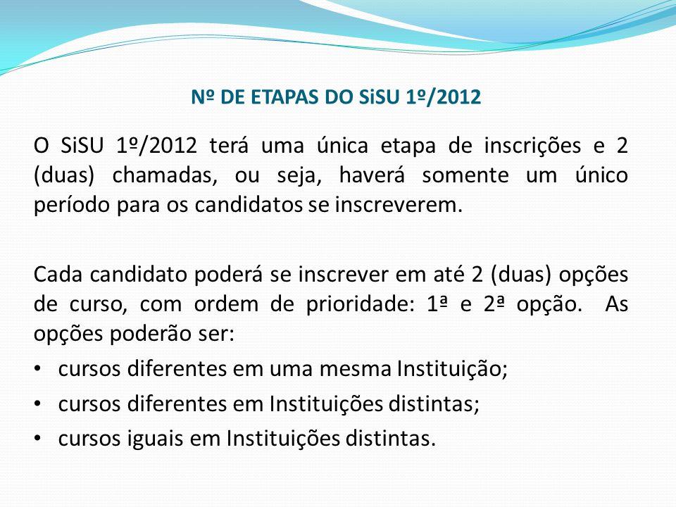 Nº DE ETAPAS DO SiSU 1º/2012 O SiSU 1º/2012 terá uma única etapa de inscrições e 2 (duas) chamadas, ou seja, haverá somente um único período para os c