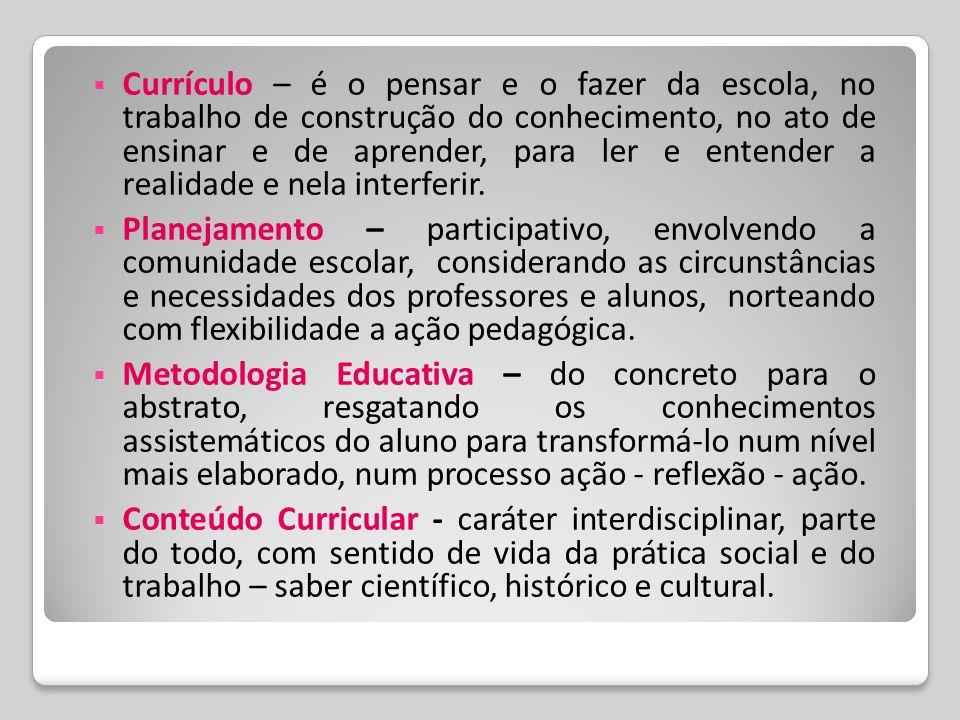  Currículo – é o pensar e o fazer da escola, no trabalho de construção do conhecimento, no ato de ensinar e de aprender, para ler e entender a realid