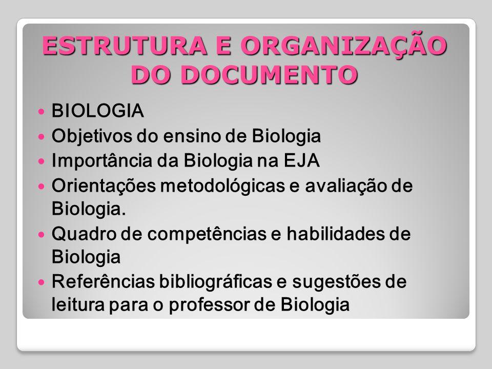 BIOLOGIA Objetivos do ensino de Biologia Importância da Biologia na EJA Orientações metodológicas e avaliação de Biologia. Quadro de competências e ha