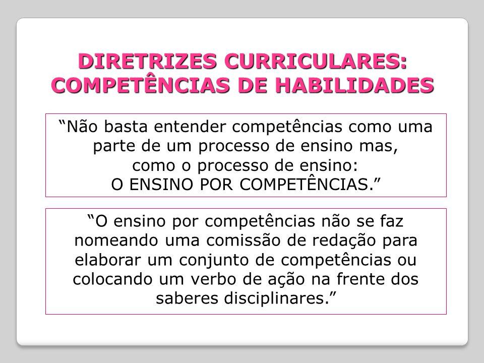DIRETRIZES CURRICULARES: COMPETÊNCIAS DE HABILIDADES Não basta entender competências como uma parte de um processo de ensino mas, como o processo de ensino: O ENSINO POR COMPETÊNCIAS. O ensino por competências não se faz nomeando uma comissão de redação para elaborar um conjunto de competências ou colocando um verbo de ação na frente dos saberes disciplinares.