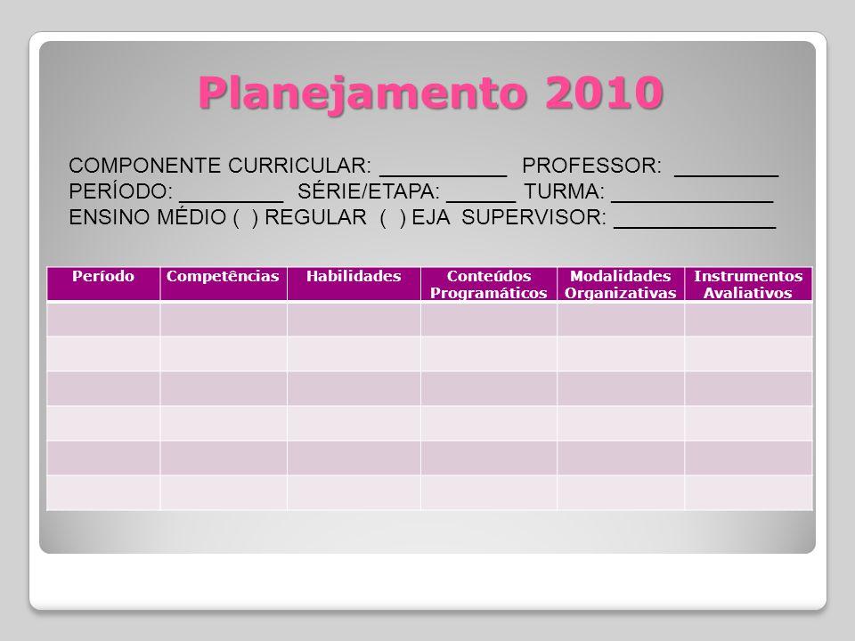 Planejamento 2010 PeríodoCompetênciasHabilidadesConteúdos Programáticos Modalidades Organizativas Instrumentos Avaliativos COMPONENTE CURRICULAR: ___________ PROFESSOR: _________ PERÍODO: _________ SÉRIE/ETAPA: ______ TURMA: ______________ ENSINO MÉDIO ( ) REGULAR ( ) EJA SUPERVISOR: ______________