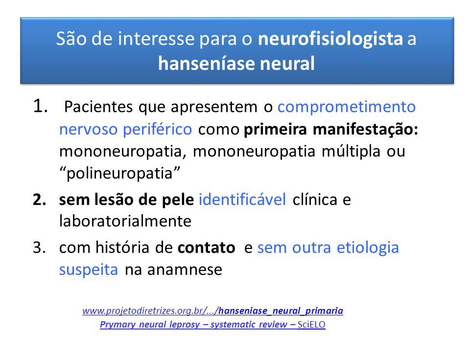 São de interesse para o neurofisiologista a hanseníase neural er suspeitos de HNP 1. Pacientes que apresentem o comprometimento nervoso periférico com
