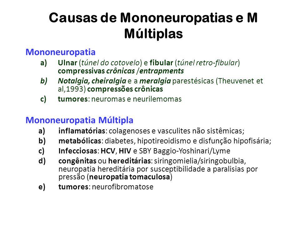 Causas de Mononeuropatias e M Múltiplas Mononeuropatia a)Ulnar (túnel do cotovelo) e fibular (túnel retro-fibular) compressivas crônicas /entrapments