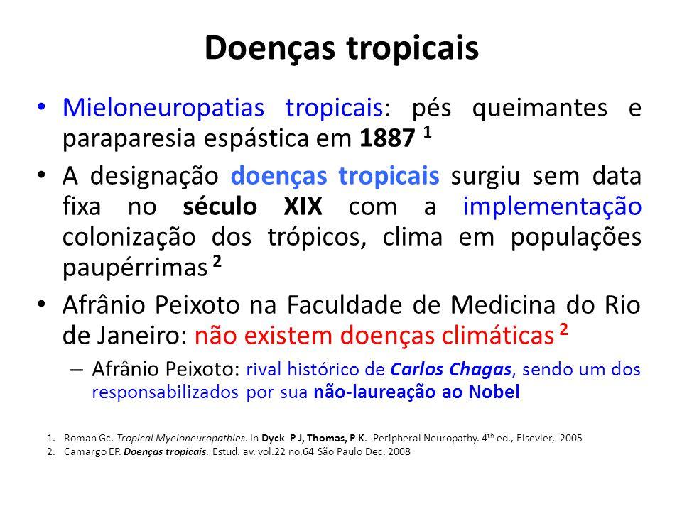 Doenças tropicais Mieloneuropatias tropicais: pés queimantes e paraparesia espástica em 1887 1 A designação doenças tropicais surgiu sem data fixa no