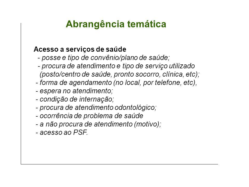 Abrangência temática Acesso a serviços de saúde - posse e tipo de convênio/plano de saúde; - procura de atendimento e tipo de serviço utilizado (posto