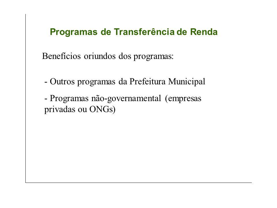 Programas de Transferência de Renda - Outros programas da Prefeitura Municipal - Programas não-governamental (empresas privadas ou ONGs)