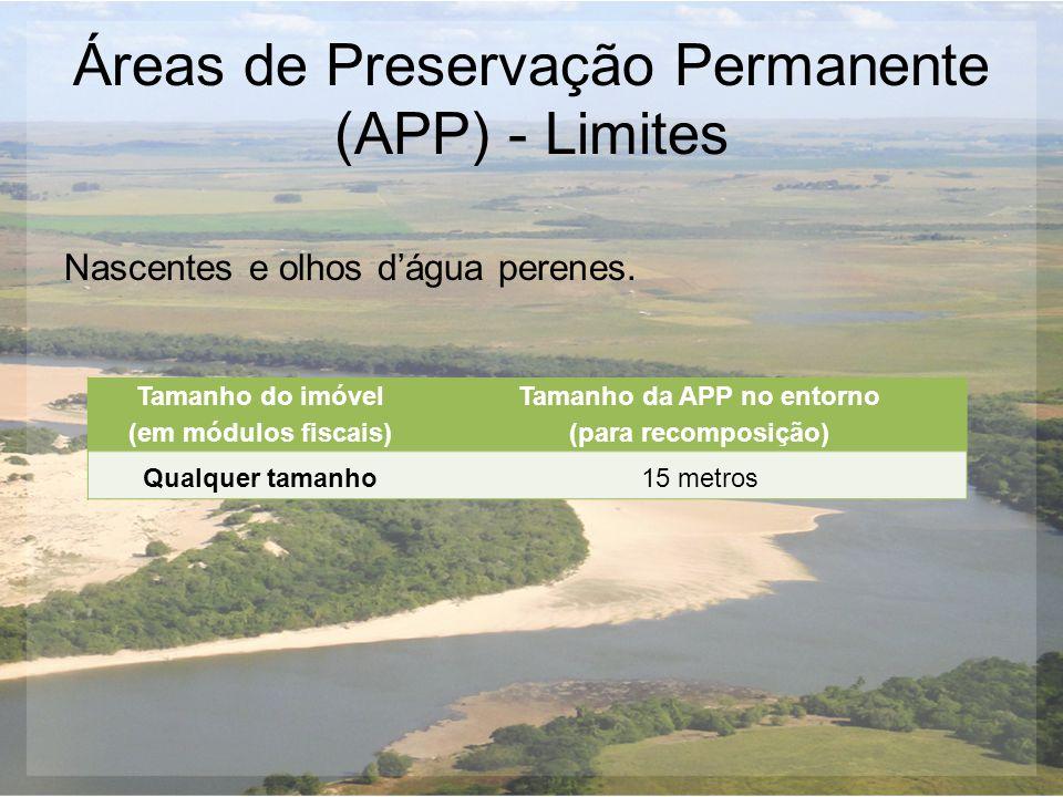 Áreas de Preservação Permanente (APP) - Limites Nascentes e olhos d'água perenes. Tamanho do imóvel (em módulos fiscais) Tamanho da APP no entorno (pa