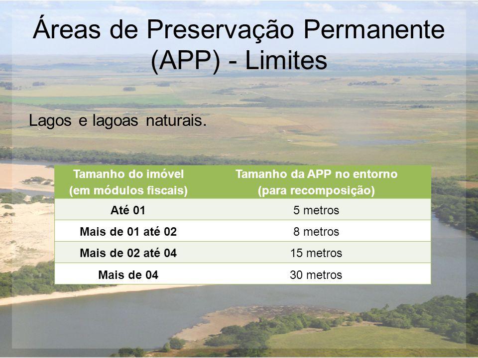 Áreas de Preservação Permanente (APP) - Limites Lagos e lagoas naturais. Tamanho do imóvel (em módulos fiscais) Tamanho da APP no entorno (para recomp