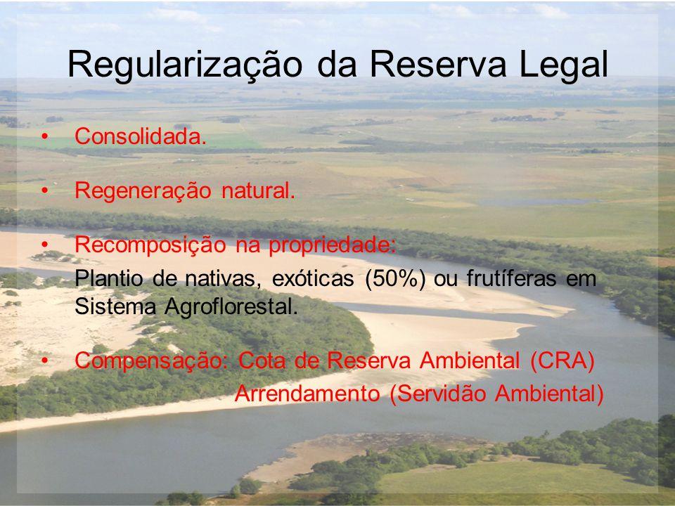 Regularização da Reserva Legal Consolidada. Regeneração natural. Recomposição na propriedade: Plantio de nativas, exóticas (50%) ou frutíferas em Sist
