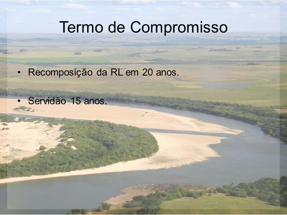 Termo de Compromisso Recomposição da RL em 20 anos. Servidão 15 anos.
