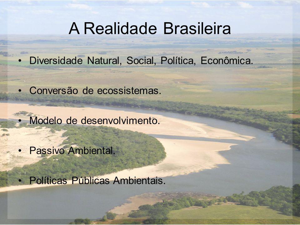 A Realidade Brasileira Diversidade Natural, Social, Política, Econômica. Conversão de ecossistemas. Modelo de desenvolvimento. Passivo Ambiental. Polí