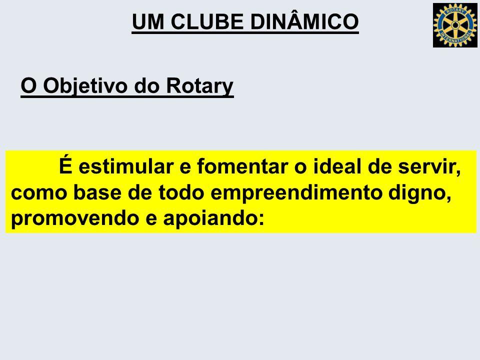 UM CLUBE DINÂMICO O Objetivo do Rotary É estimular e fomentar o ideal de servir, como base de todo empreendimento digno, promovendo e apoiando: