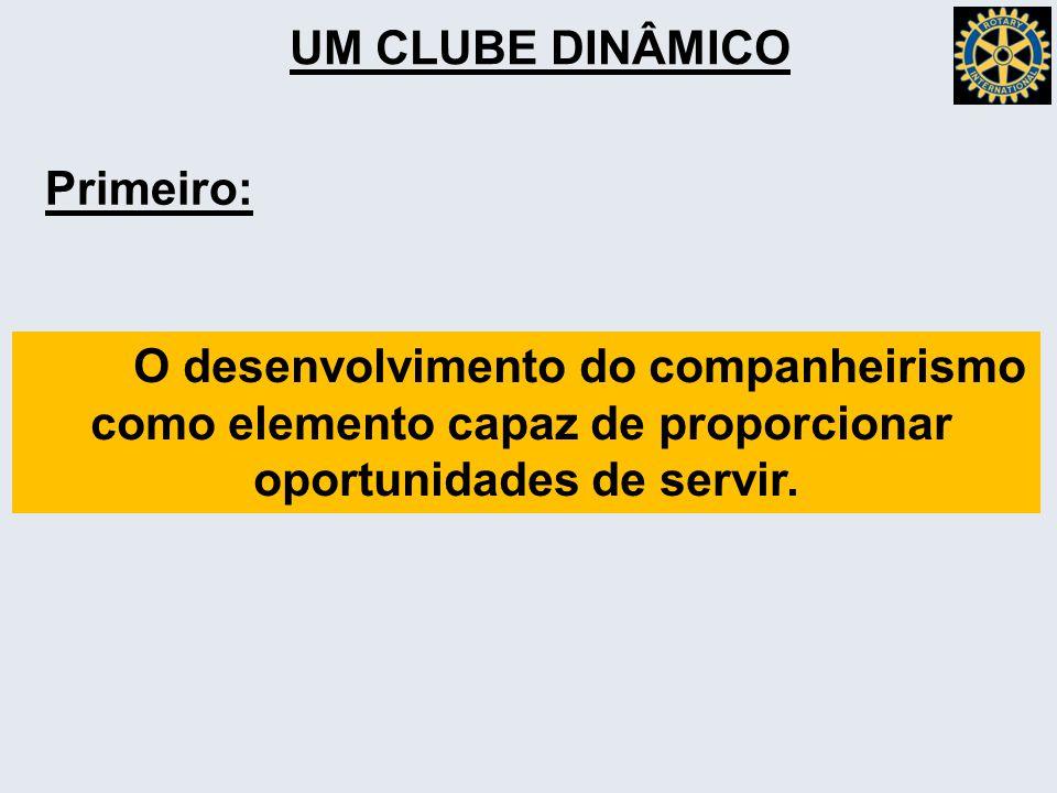 UM CLUBE DINÂMICO Primeiro: O desenvolvimento do companheirismo como elemento capaz de proporcionar oportunidades de servir.