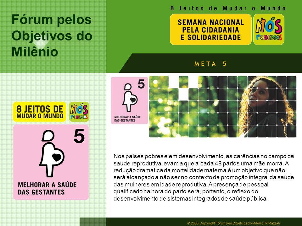 Fórum pelos Objetivos do Milênio © 2006 Copyright Fórum peo Objetivos do Milênio, R.Mazzali M E T A 5 Nos países pobres e em desenvolvimento, as carên