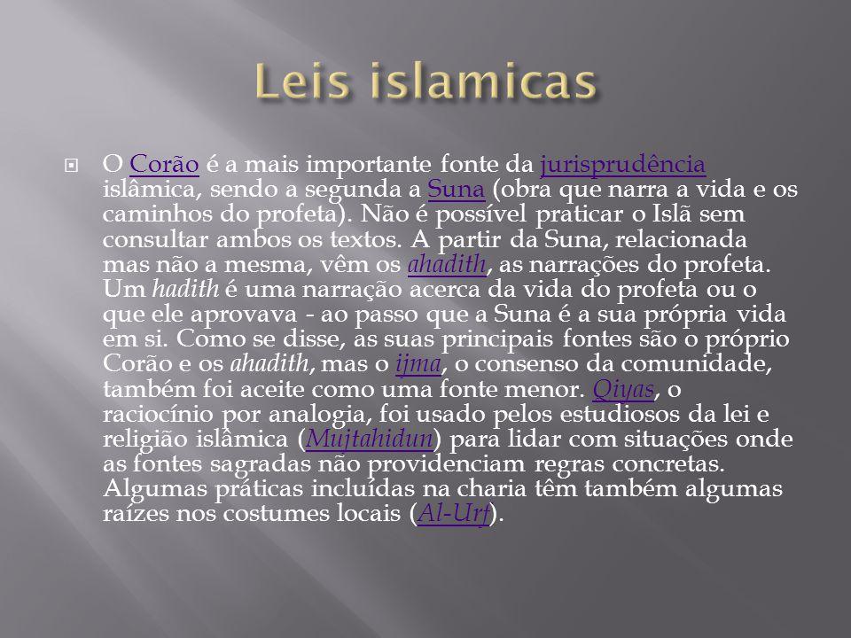  O Corão é a mais importante fonte da jurisprudência islâmica, sendo a segunda a Suna (obra que narra a vida e os caminhos do profeta). Não é possíve