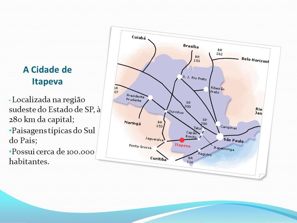 A Cidade de Itapeva Localizada na região sudeste do Estado de SP, à 280 km da capital; Paisagens típicas do Sul do Pais; Possui cerca de 100.000 habitantes.