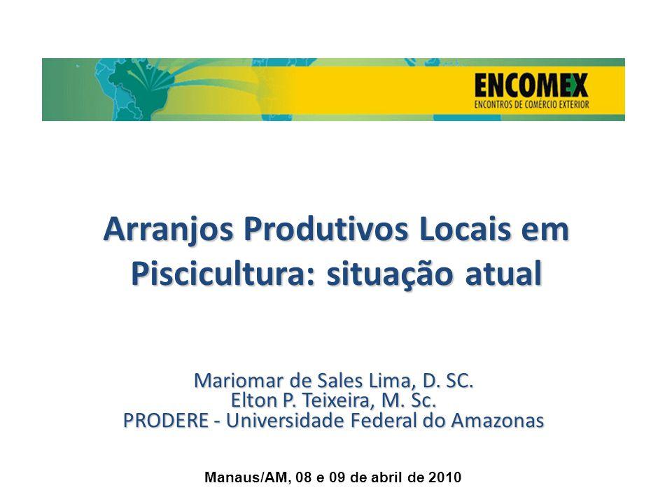 Arranjos Produtivos Locais em Piscicultura: situação atual Mariomar de Sales Lima, D. SC. Elton P. Teixeira, M. Sc. PRODERE - Universidade Federal do