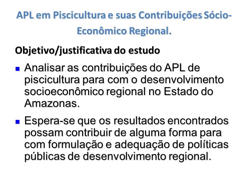 APL em Piscicultura e suas Contribuições Sócio- Econômico Regional. Objetivo/justificativa do estudo Analisar as contribuições do APL de piscicultura