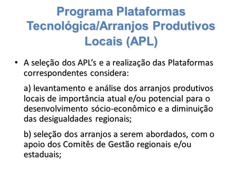 Programa Plataformas Tecnológica/Arranjos Produtivos Locais (APL) A seleção dos APL's e a realização das Plataformas correspondentes considera: A sele