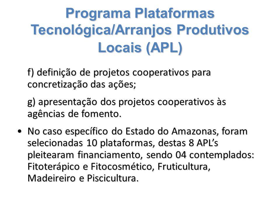 Programa Plataformas Tecnológica/Arranjos Produtivos Locais (APL) f) definição de projetos cooperativos para concretização das ações; g) apresentação