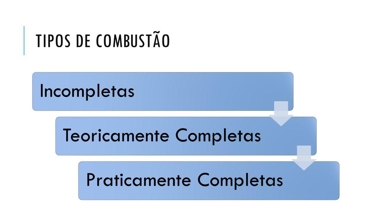 TIPOS DE COMBUSTÃO IncompletasTeoricamente CompletasPraticamente Completas