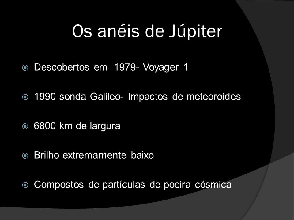 Os anéis de Júpiter  Descobertos em 1979- Voyager 1  1990 sonda Galileo- Impactos de meteoroides  6800 km de largura  Brilho extremamente baixo  Compostos de partículas de poeira cósmica