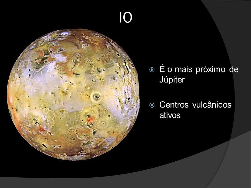 IO  É o mais próximo de Júpiter  Centros vulcânicos ativos