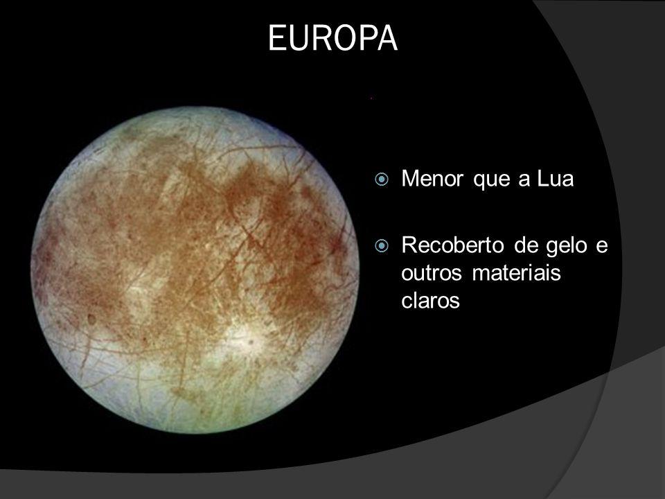 EUROPA  Menor que a Lua  Recoberto de gelo e outros materiais claros