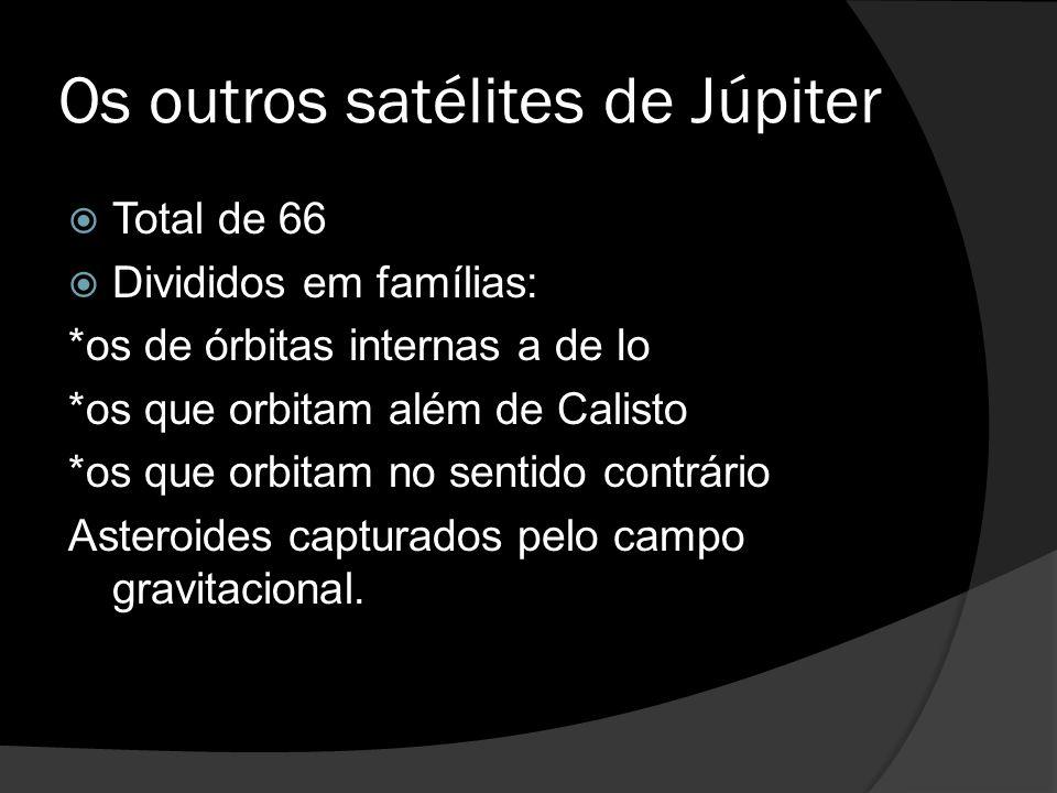 Os outros satélites de Júpiter  Total de 66  Divididos em famílias: *os de órbitas internas a de Io *os que orbitam além de Calisto *os que orbitam no sentido contrário Asteroides capturados pelo campo gravitacional.