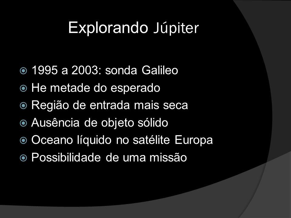 Explorando Júpiter  1995 a 2003: sonda Galileo  He metade do esperado  Região de entrada mais seca  Ausência de objeto sólido  Oceano líquido no satélite Europa  Possibilidade de uma missão