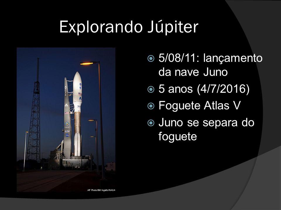 Explorando Júpiter  5/08/11: lançamento da nave Juno  5 anos (4/7/2016)  Foguete Atlas V  Juno se separa do foguete