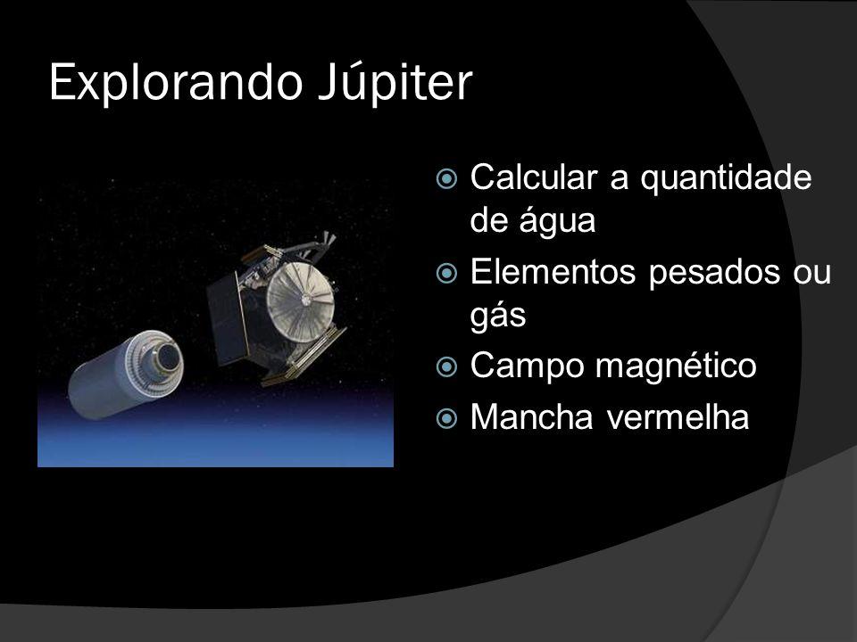 Explorando Júpiter  Calcular a quantidade de água  Elementos pesados ou gás  Campo magnético  Mancha vermelha