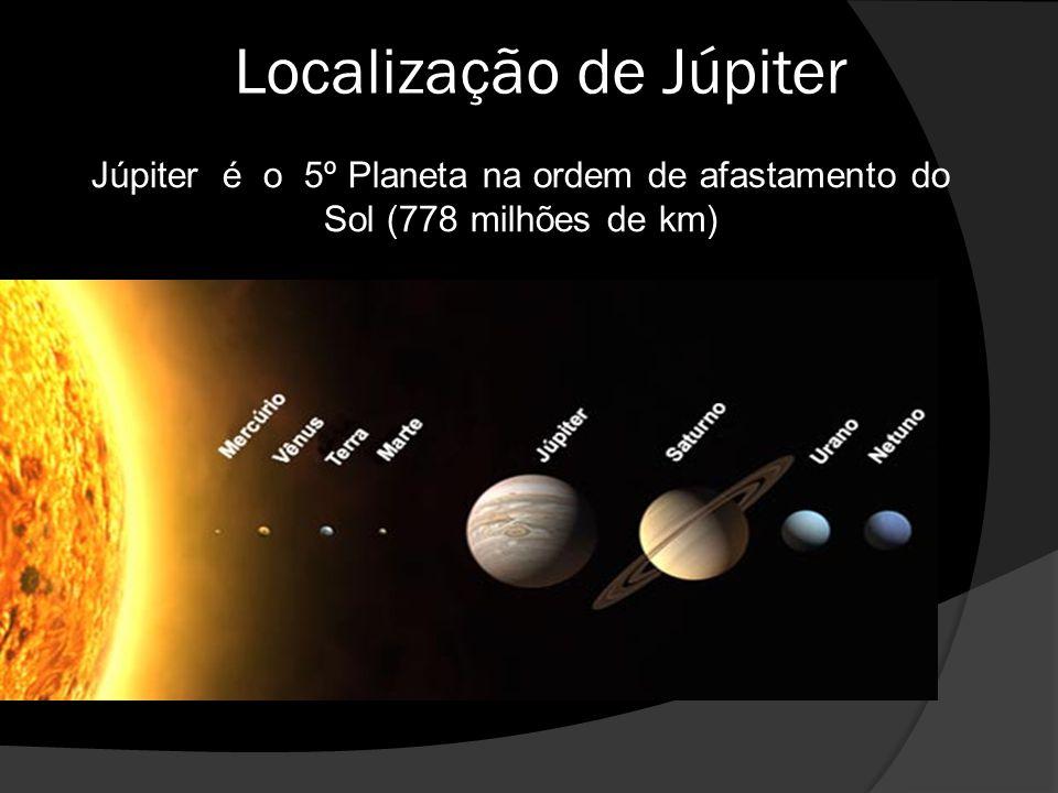 Localização de Júpiter Júpiter é o 5º Planeta na ordem de afastamento do Sol (778 milhões de km)