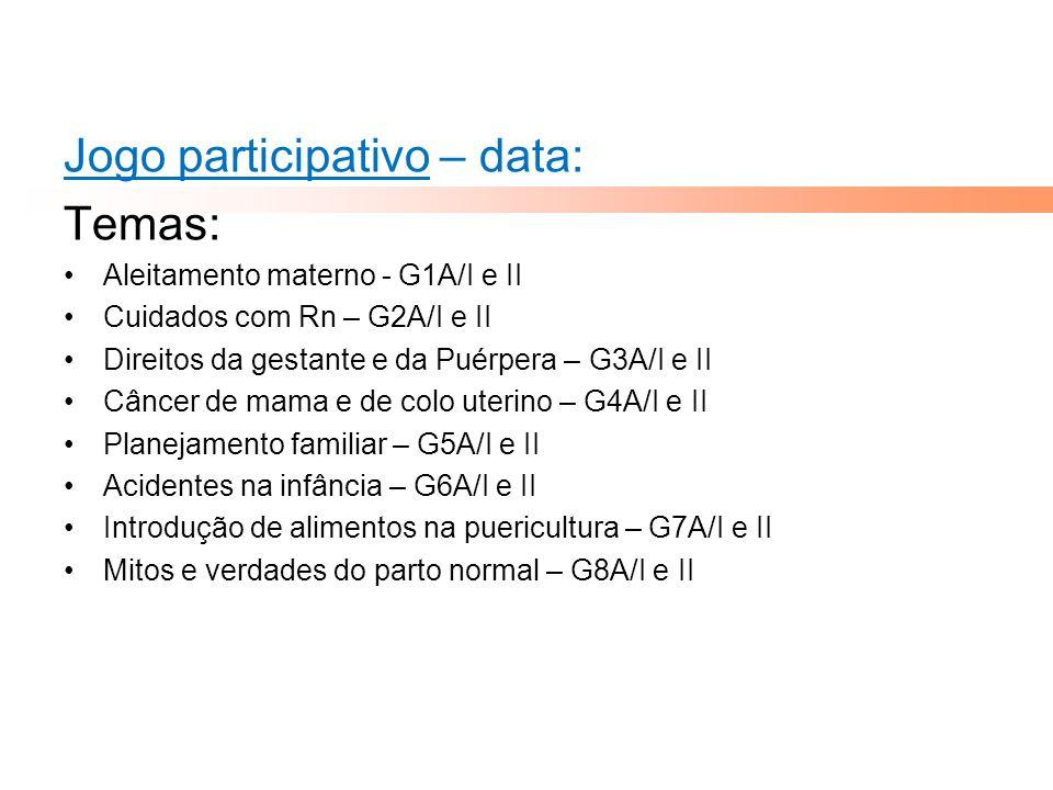 Jogo participativo – data: Temas: Aleitamento materno - G1A/I e II Cuidados com Rn – G2A/I e II Direitos da gestante e da Puérpera – G3A/I e II Câncer