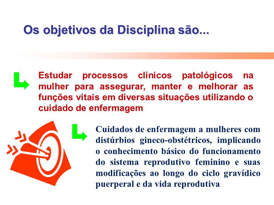 Os objetivos da Disciplina são... Estudar processos clínicos patológicos na mulher para assegurar, manter e melhorar as funções vitais em diversas sit