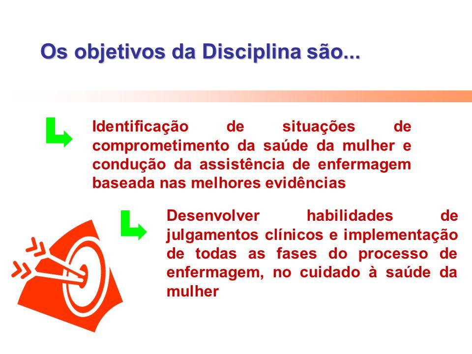 Os objetivos da Disciplina são... Desenvolver habilidades de julgamentos clínicos e implementação de todas as fases do processo de enfermagem, no cuid