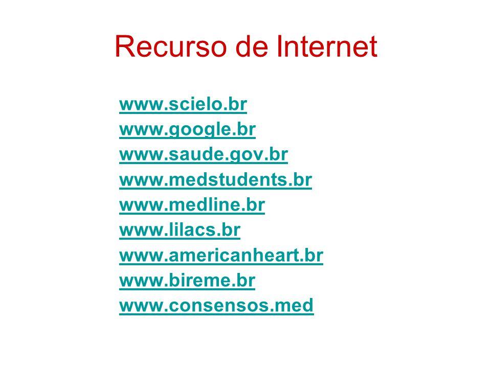 Recurso de Internet www.scielo.br www.google.br www.saude.gov.br www.medstudents.br www.medline.br www.lilacs.br www.americanheart.br www.bireme.br ww