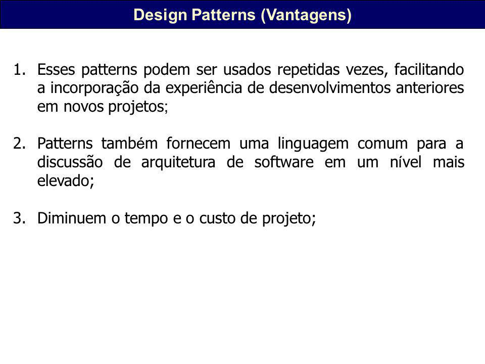 GOF Design Patterns Em 1994, liderados por Erich Gamma a GOF (Gang of Four) - Erich Gamma, Richard Helm, Ralph Johnson a John Vlissides publicaram o livro que deu origem à onda dos Patterns na á rea de inform á tica, Design Patterns: Elements of Reusable Object- Oriented Software.