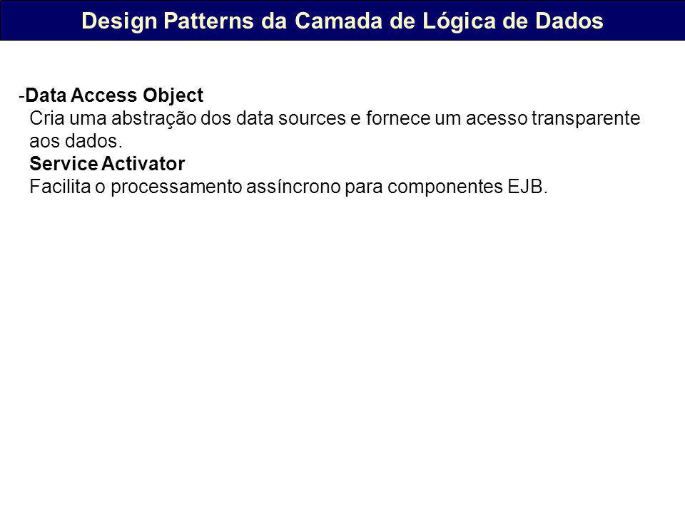 Design Patterns da Camada de Lógica de Dados -Data Access Object Cria uma abstração dos data sources e fornece um acesso transparente aos dados.