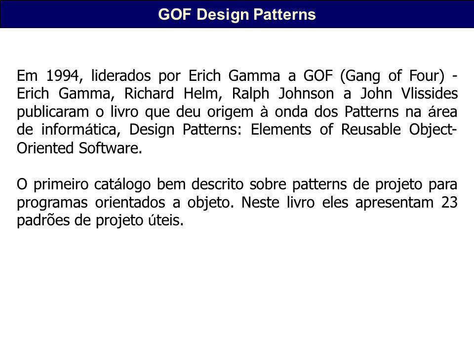 GOF Design Patterns Em 1994, liderados por Erich Gamma a GOF (Gang of Four) - Erich Gamma, Richard Helm, Ralph Johnson a John Vlissides publicaram o livro que deu origem à onda dos Patterns na á rea de inform á tica, Design Patterns: Elements of Reusable Object- Oriented Software.