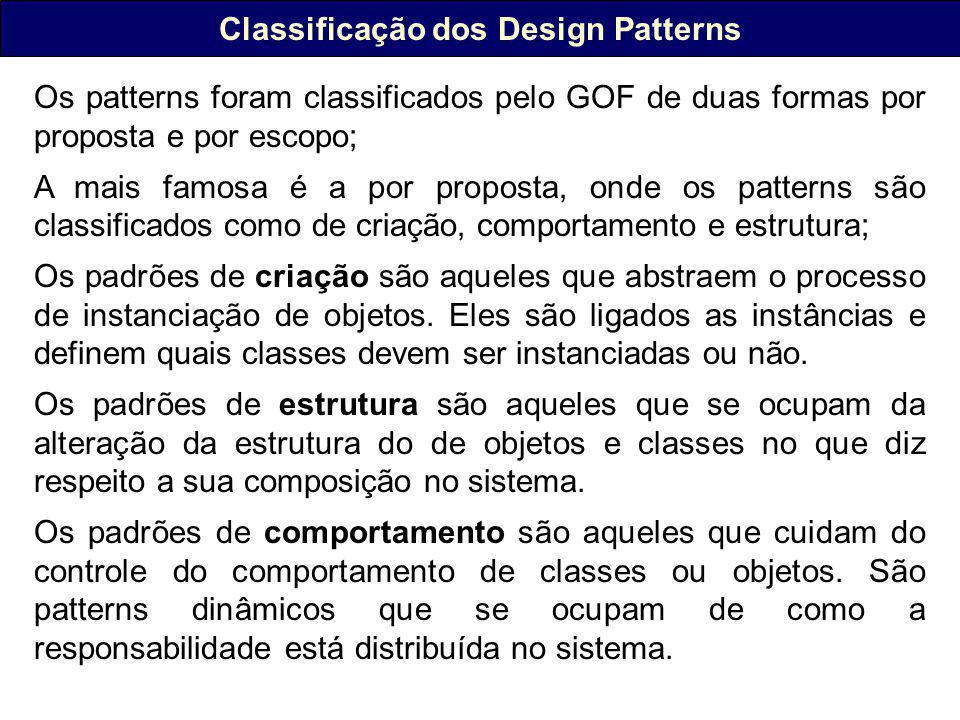 Classificação dos Design Patterns Os patterns foram classificados pelo GOF de duas formas por proposta e por escopo; A mais famosa é a por proposta, onde os patterns são classificados como de criação, comportamento e estrutura; Os padrões de criação são aqueles que abstraem o processo de instanciação de objetos.