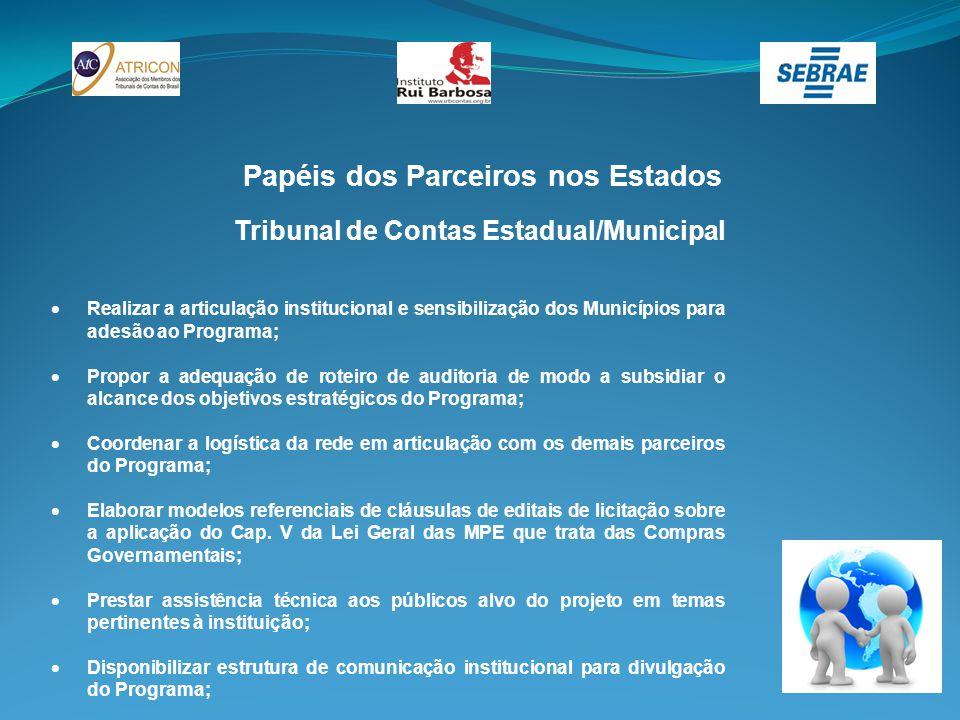 Papéis dos Parceiros nos Estados Tribunal de Contas Estadual/Municipal  Realizar a articulação institucional e sensibilização dos Municípios para ade