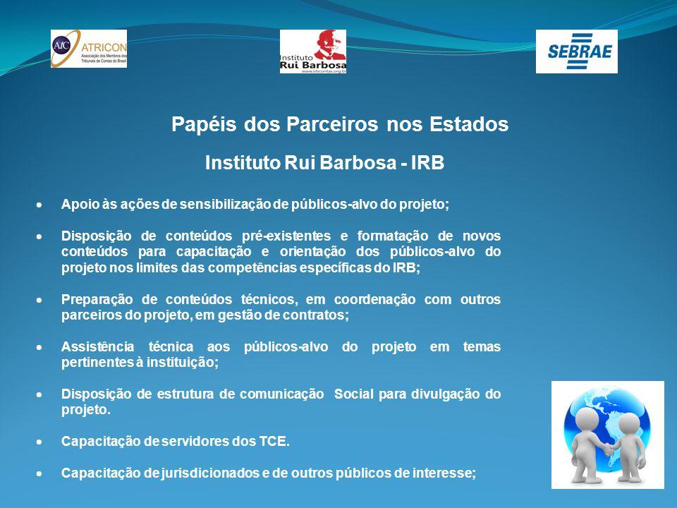 Papéis dos Parceiros nos Estados Instituto Rui Barbosa - IRB  Apoio às ações de sensibilização de públicos-alvo do projeto;  Disposição de conteúdos