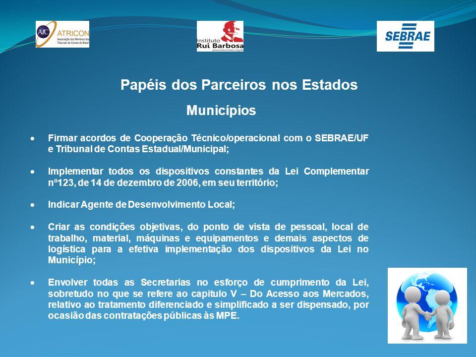 Papéis dos Parceiros nos Estados Municípios  Firmar acordos de Cooperação Técnico/operacional com o SEBRAE/UF e Tribunal de Contas Estadual/Municipal