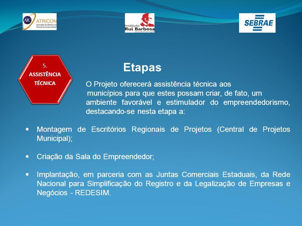 5. ASSISTÊNCIA TÉCNICA Etapas O Projeto oferecerá assistência técnica aos municípios para que estes possam criar, de fato, um ambiente favorável e est