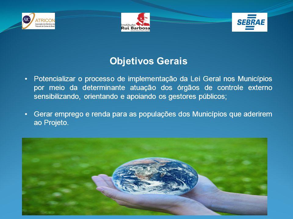 Objetivos Gerais Potencializar o processo de implementação da Lei Geral nos Municípios por meio da determinante atuação dos órgãos de controle externo