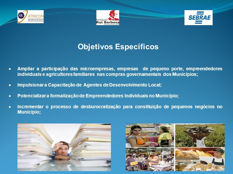 Objetivos Específicos  Ampliar a participação das microempresas, empresas de pequeno porte, empreendedores individuais e agricultores familiares nas