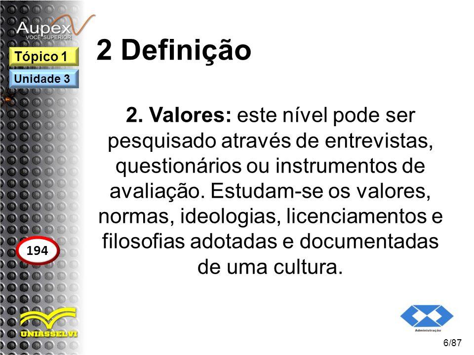 2 Definição 2. Valores: este nível pode ser pesquisado através de entrevistas, questionários ou instrumentos de avaliação. Estudam-se os valores, norm
