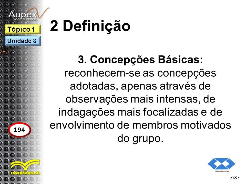 2 Definição 3. Concepções Básicas: reconhecem-se as concepções adotadas, apenas através de observações mais intensas, de indagações mais focalizadas e
