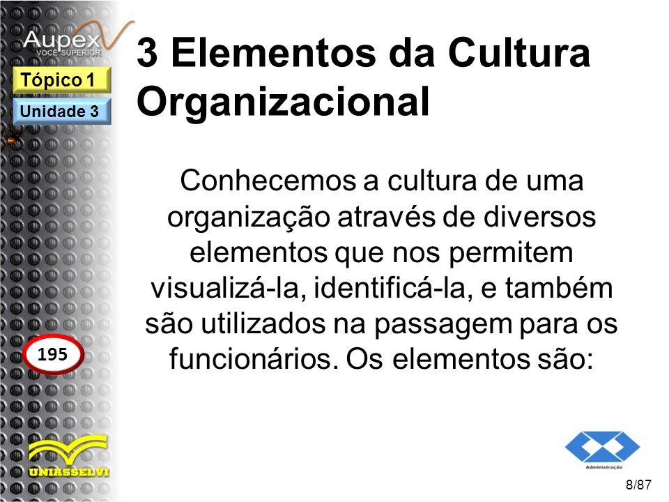 3 Elementos da Cultura Organizacional Conhecemos a cultura de uma organização através de diversos elementos que nos permitem visualizá-la, identificá-